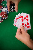 Cards with poker arrangement Royalty Free Stock Photos