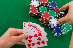 Cards with poker arrangement Royalty Free Stock Photo