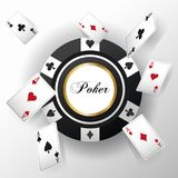 Cards of Poker and chip design. Cards of poker and chip icon. Casino and las vegas theme. Colorful design. Vector illustration Stock Images