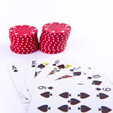 Cards and poker chips Stock Images