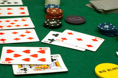 Cards and poker chips Royalty Free Stock Images