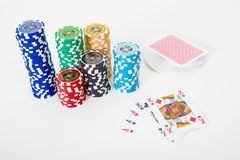 Cards and poker chips Stock Image
