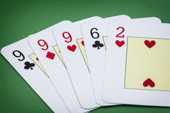 Cards poker deck English, Poker hand call la Tercia Royalty Free Stock Images