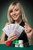 cards poker för kasinochipspelare Royaltyfri Foto