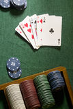 Cards with poker hand with chips Royalty Free Stock Image