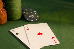 Cards with poker hand with chips Royalty Free Stock Photo