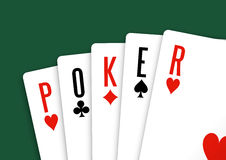 Cards with poker letters Stock Image