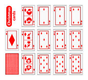 Cards Poker Set Christmas icons. color red diamond. Santa claus, girl and elf - just schematically, uniformly. Illustration. Use for the site, printing, paper Stock Photo