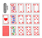 Cards Poker Set Christmas icons. color red heart. Santa claus, girl and elf. Illustration . Use for the site, printing, pape. R, cloth, decoration, design etc stock illustration