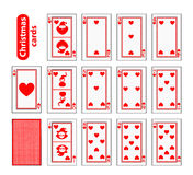 Cards Poker Set Christmas icons. color red heart. Santa claus, girl and elf - just schematically, uniformly. Illustration . Royalty Free Stock Photos