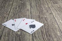 4 cards poker texas hold theme royalty free stock photo