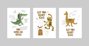 Cards or posters set with cute animals, crocodile, leopard, Lama in cartoon style. Cute elements and motivational sayings, quotes. Vector illustration for kids vector illustration