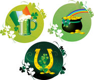 Cards with pot,horseshoe and beer Royalty Free Stock Images