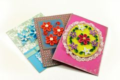Cards with quilling flowers. Creativity cards with quilling flowers Royalty Free Stock Images