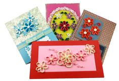 Cards with quilling flowers. Creativity cards with quilling flowers Royalty Free Stock Photos