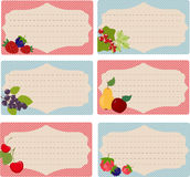 Cards for recipes. Set of six cards for recipes with fruits ( background Royalty Free Stock Photos