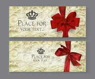 Cards with red bows and old paper texture Stock Photo