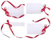 Cards with red ribbons Royalty Free Stock Photography
