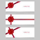 Cards with red ribbons. Vector illustration. Place for text.  Stock Images