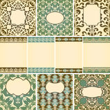 Cards in retro style. 10 cards in retro style with floral seamless  floral  paterns Stock Photography