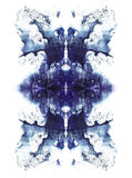 Cards of rorschach inkblot test. Blue watercolor symmetrycal blotch. Abstract painting Stock Photo