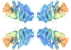 Cards of rorschach inkblot test. Watercolor picture. Abstract background. Blue, orange, yellow and green paint. Royalty Free Stock Image