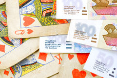 Cards & roubles Royalty Free Stock Images