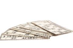 Cards for Russian lotto (bingo game) Stock Photos
