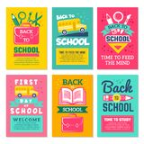 Cards with schools symbols. Back to school cards template isolate. Banner first day school, welcome banner vector illustration vector illustration