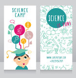 Cards for science camp. Smart kid in mortar board and science icons, vector illustration Stock Photography