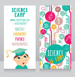 Cards for science camp. Smart kid in mortar board and science icons, vector illustration Royalty Free Stock Image