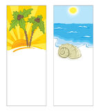 Cards with a sea view. Backgrounds on recreation and travel vector illustration
