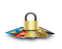 Cards secure. Security cards concept, banking objects Stock Images