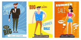 Cards for selling clothes, different sizes, characters for men and women, large-scale clothing, modern style graphics. Posters, banners, advertising Royalty Free Stock Photography