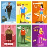 Cards for selling clothes, different sizes, characters for men and women, large-scale clothing, modern style graphics. Posters, banners, advertising Stock Photo