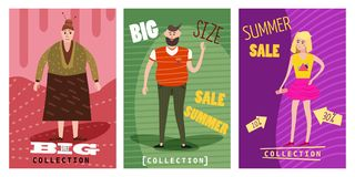 Cards for selling clothes, different sizes, characters for men and women, large-scale clothing, modern style graphics. Posters, banners, advertising Stock Images