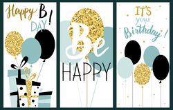 Cards set with balloons, presents and lettering text. Mint color. Happy Birthday Party cards set with balloons, presents and lettering text. Mint color. Vector Stock Images