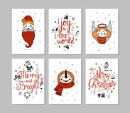 Cards set of cute cartoon Christmas characters. Vector illustration. Vector Cards set of cute characters. New year, Christmas, Winter, Collection Stock Photos