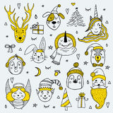 Cards set of cute cartoon Christmas characters. Vector illustration Royalty Free Stock Image