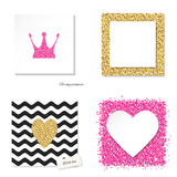 Cards set with glitter pink and golden elements. Stock Images