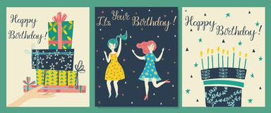 Cards set. Hand with gifts and wishes of happiness stock illustration