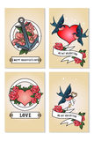 Cards set for st. Valentine day. Red and white hearts, swallows, anchors, declaration of love. Vector illustration Royalty Free Stock Photography