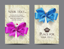 Cards with silk bows and old paper background Royalty Free Stock Photography
