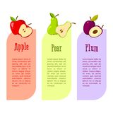 Cards with space for your text. fruits benefits. Red apple, pear and plum Royalty Free Stock Image