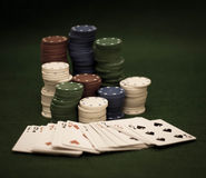 Cards and stack of poker chips Stock Image