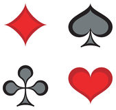 Cards Suite. Vector illustration of a set of 4 playing suites, including spades, diamonds, hearts, clubs Royalty Free Stock Photo