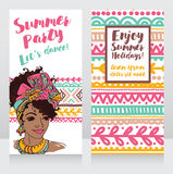Cards for summer party with beautiful girl and tropical decor Stock Photos