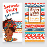 Cards for summer party with beautiful girl and tropical decor Stock Images