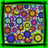 Cards for of sunflowers. Frame neon black and green dice and sunflowers Royalty Free Stock Photo