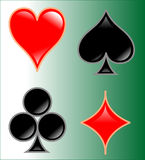 Cards symbol. On a green background Royalty Free Stock Photography